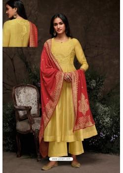 Yellow Aaria Silk Banarasi Jacquard Straight Suit