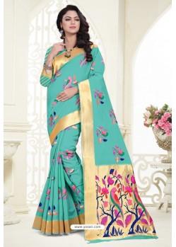 Aqua Mint Banarasi Silk Designer Saree