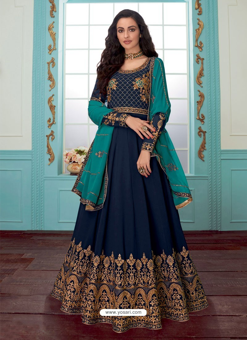 Navy Blue Georgette Embroidered Partywear Suit