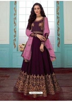 Purple Georgette Embroidered Partywear Suit