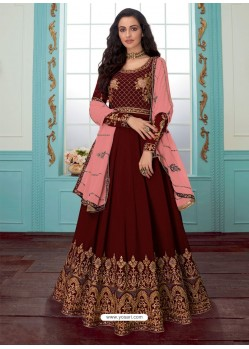 Maroon Georgette Embroidered Partywear Suit