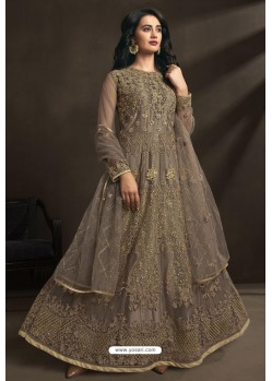 Light Brown Net Embroidery Designer Anarkali Suit