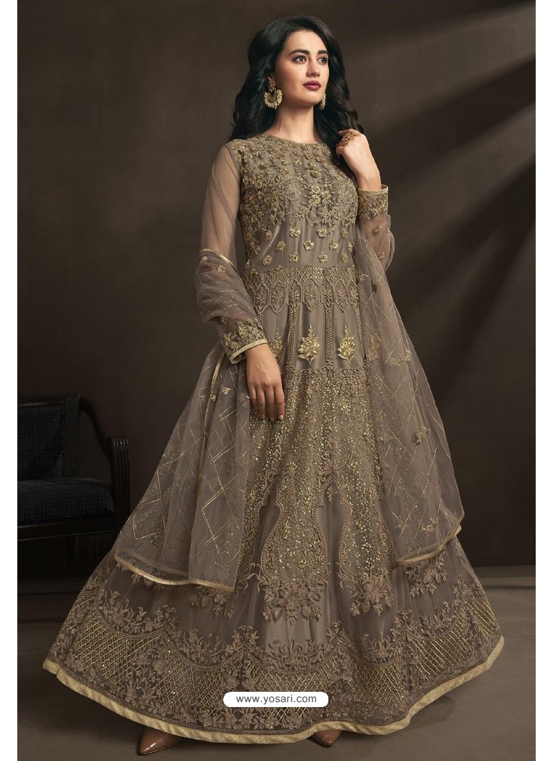 Light Brown Net Embroidery Designer Anarkali Suit