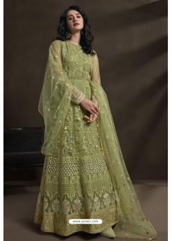 Green Net Embroidery Designer Anarkali Suit