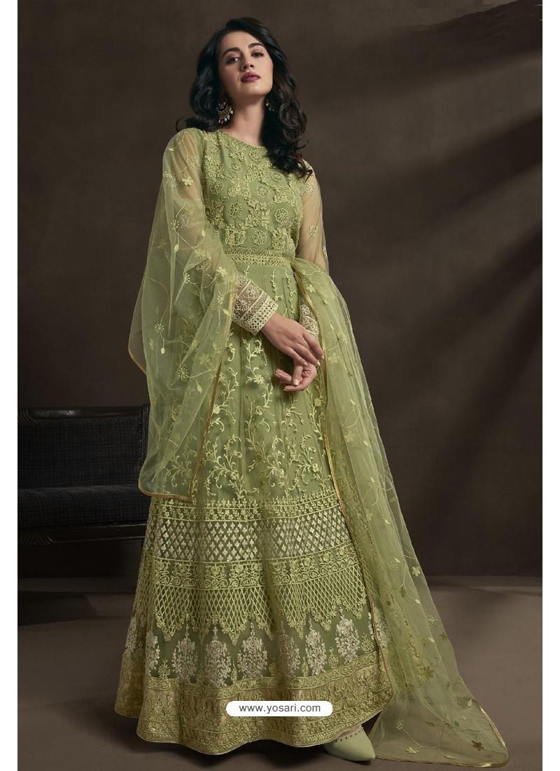 Green Net Embroidery Designer Anarkali Suit