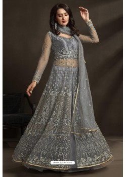 Grey Net Embroidery Designer Anarkali Suit