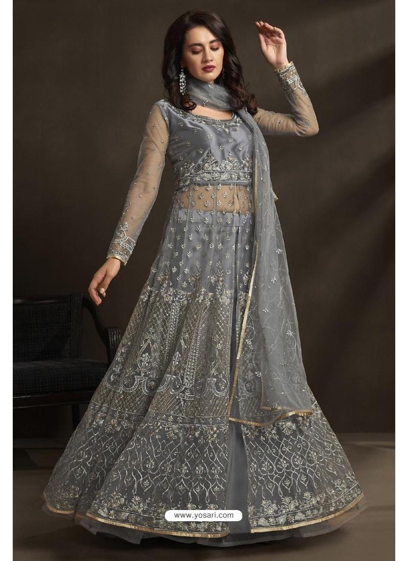 Grey Net Embroidery Designer Anarkali Suit
