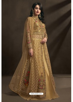 Beige Net Embroidery Designer Anarkali Suit