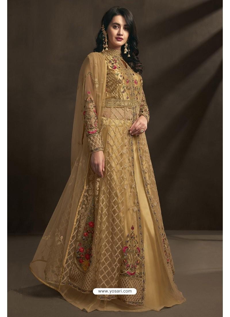 Beige Net Embroidery Designer Anarkali Suit