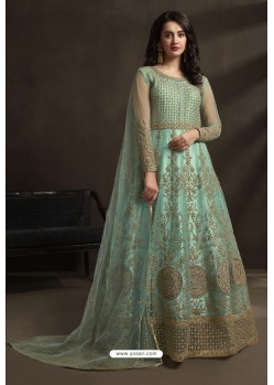 Sky Blue Net Embroidery Designer Anarkali Suit