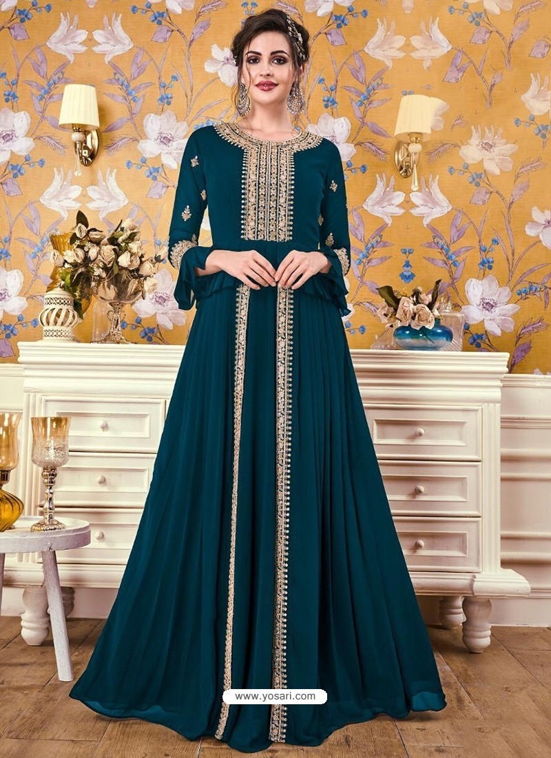 Teal Blue Georgette Party Wear Gown
