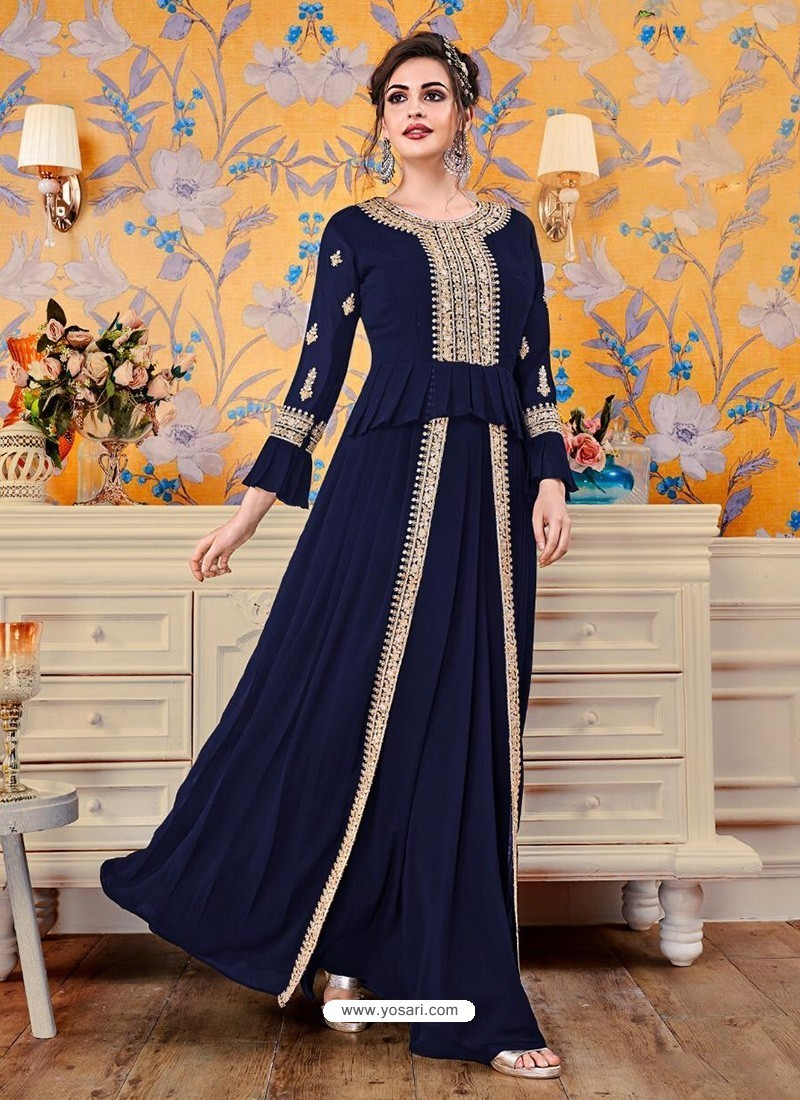 Navy Blue Georgette Party Wear Gown