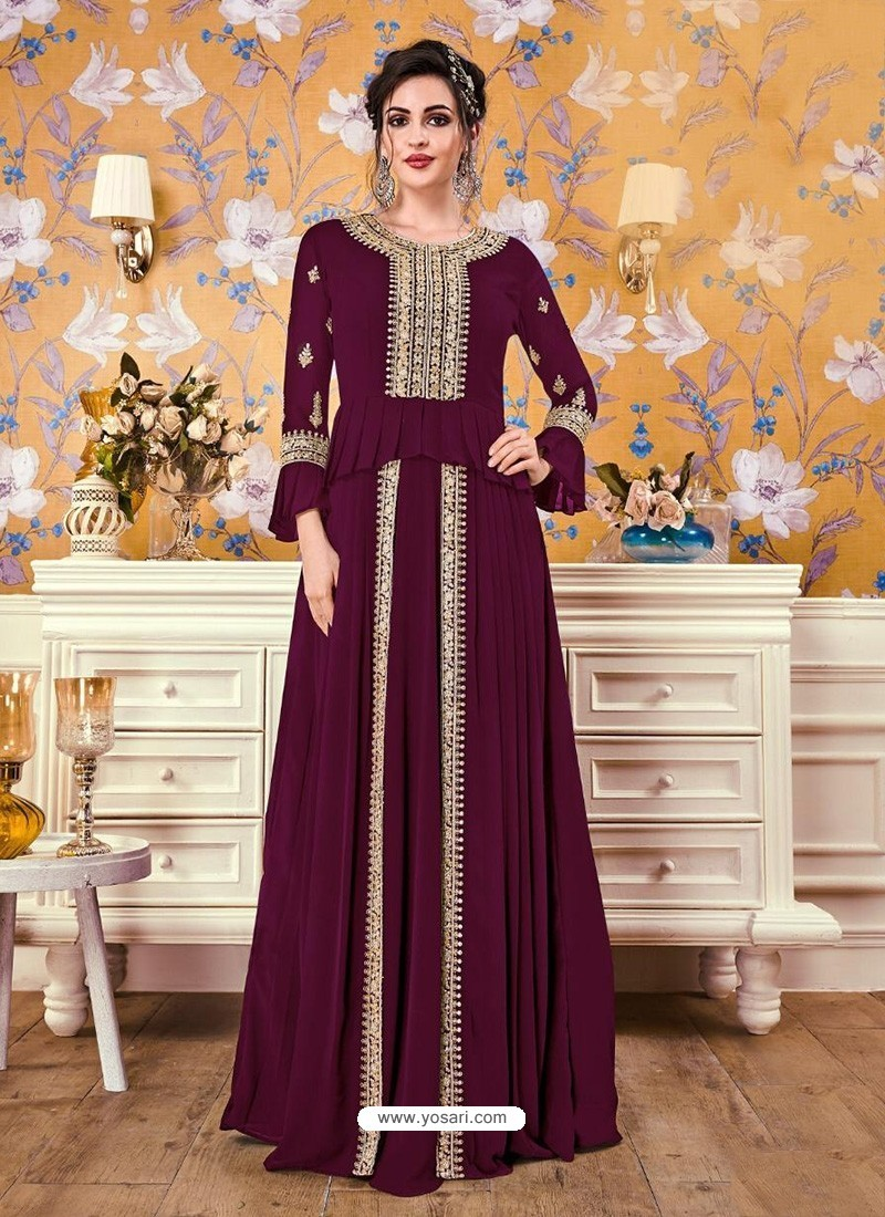 Wine Georgette Party Wear Gown