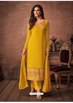 Yellow Georgette Party Wear Straight Suit