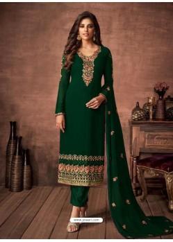 Dark Green Georgette Party Wear Straight Suit
