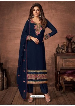 Navy Blue Georgette Party Wear Straight Suit