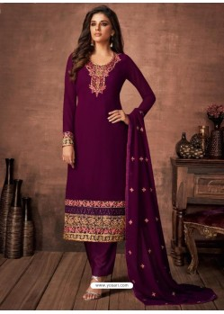 Purple Georgette Party Wear Straight Suit