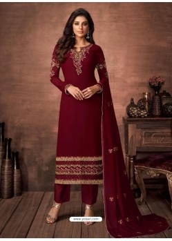 Maroon Georgette Party Wear Straight Suit