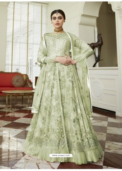 Green Net Embroidered Party Wear Anarkali Suit