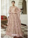 Pink Net Embroidered Party Wear Anarkali Suit