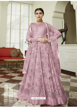 Mauve Net Embroidered Party Wear Anarkali Suit