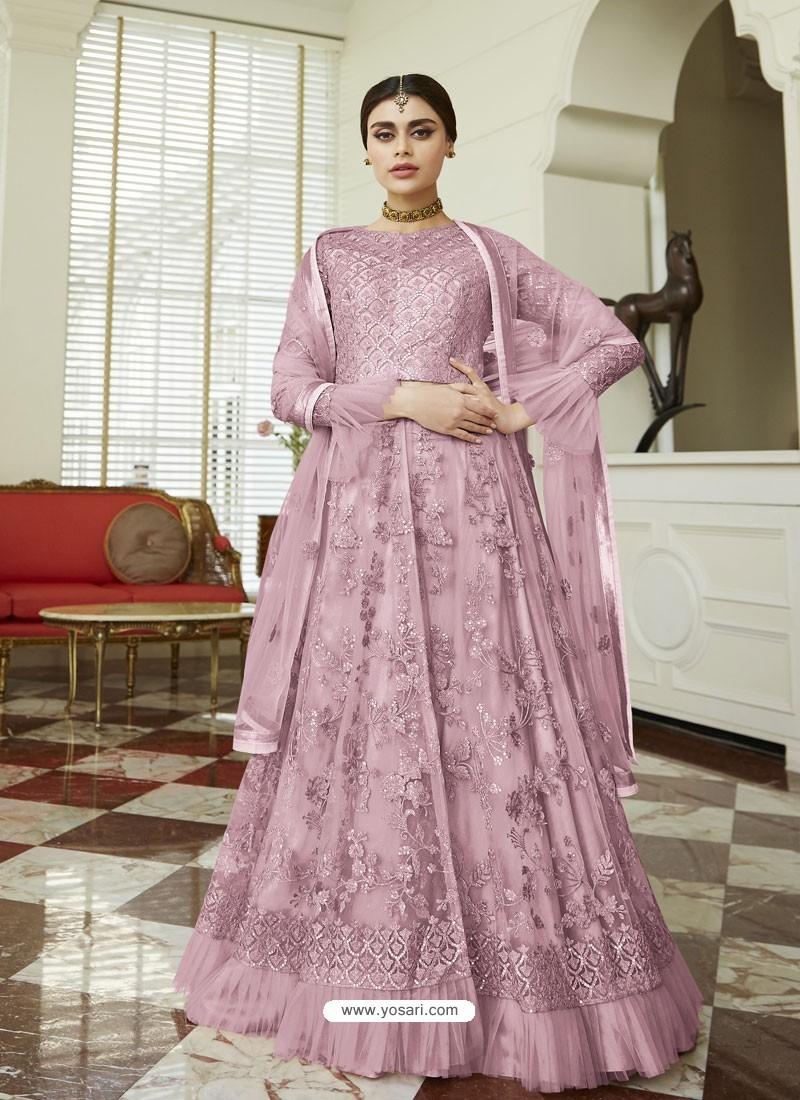 Mauve Net Embroidered Party Wear Anarkali Suit