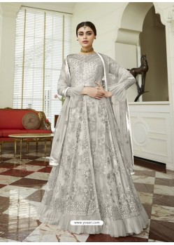 Light Grey Net Embroidered Party Wear Anarkali Suit