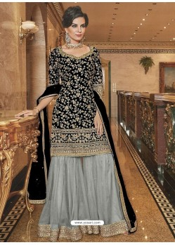 Black And Grey Soft Net Designer Palazzo Suit