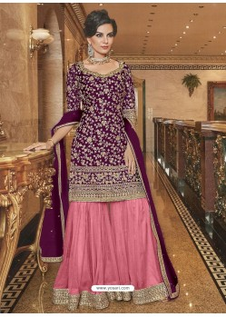 Purple And Pink Soft Net Designer Palazzo Suit