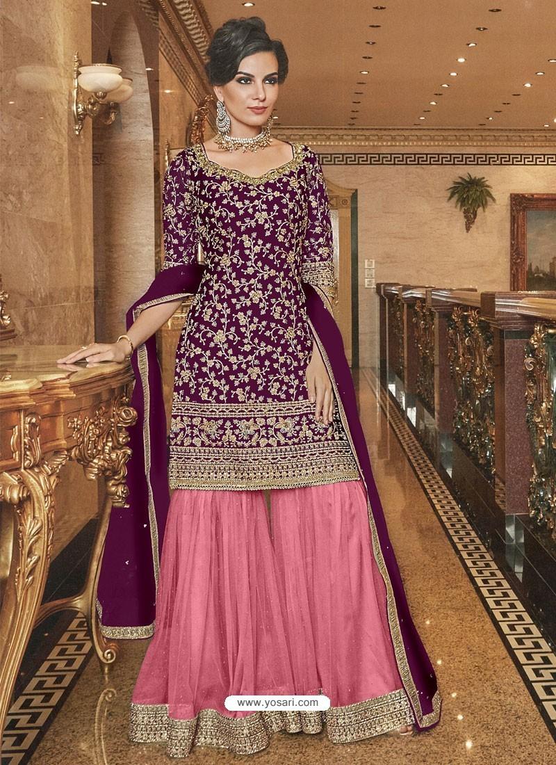Purple And Pink Soft Net Designer Palazzo Suit