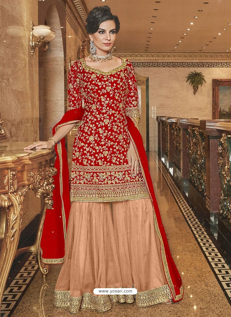 Red And Cream Soft Net Designer Palazzo Suit