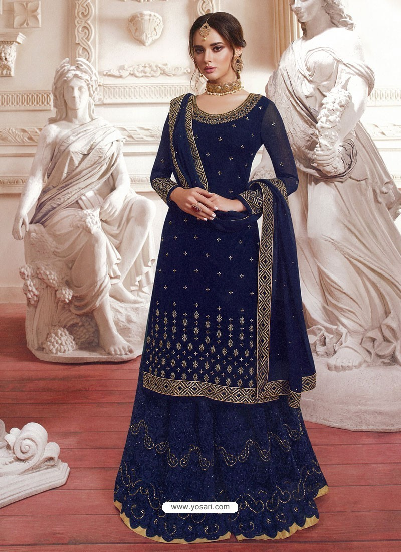 Navy Blue Satin Georgette Embroidered Designer Suit