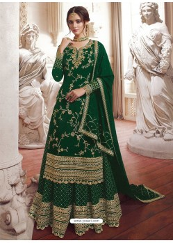 Dark Green Faux Georgette Embroidered Designer Suit
