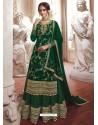 Dark Green Faux Georgette Embroidered Designer Suit