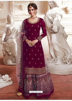 Deep Wine Net Embroidered Designer Suit