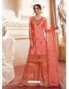 Orange Faux Georgette Embroidered Designer Suit