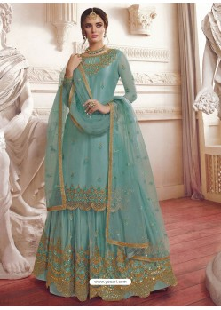 Sky Blue Net Embroidered Designer Suit