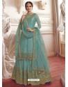 Sky Blue Net Embroidered Designer Suit