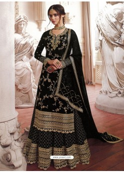 Black Faux Georgette Embroidered Designer Suit