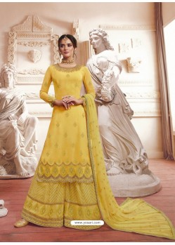 Yellow Georgette Embroidered Designer Suit