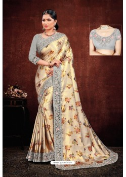 Gold And Grey Satin Georgette Designer Party Wear Saree