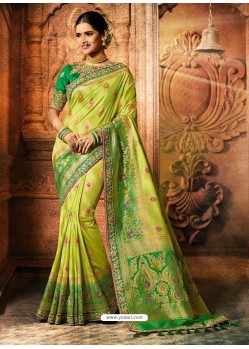 Parrot Green Viscose Dolla Embroidered Designer Saree