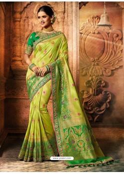 Parrot Green Viscose Dolla Embroidered Designer Saree