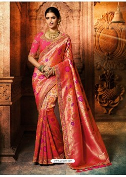 Dark Peach Silk Embroidered Designer Saree
