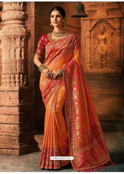 Orange And Red Viscose Dolla Embroidered Designer Saree