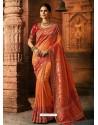 Orange And Red Viscose Dolla Embroidered Designer Saree