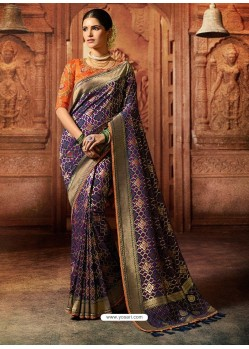 Purple Art Silk Embroidered Designer Saree
