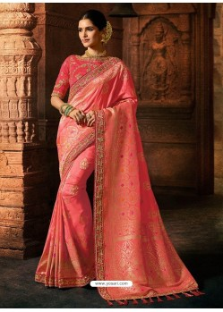 Light Pink Silk Blend Embroidered Designer Saree