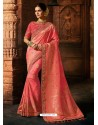 Light Pink Silk Blend Embroidered Designer Saree