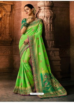 Green Viscose Dolla Embroidered Designer Saree